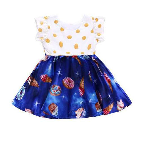 Ruffles Printed Toddlers Girls Party Dresses