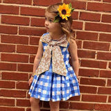 Floral Bow Girls Plaid Dress