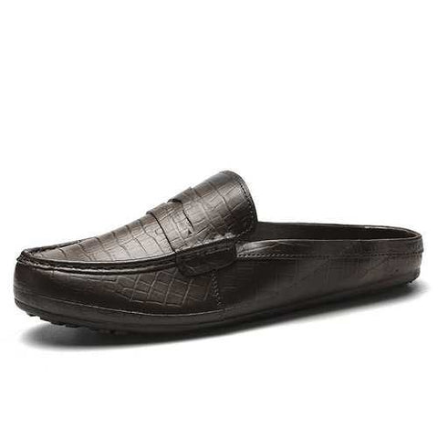 Men Leather Backless Casual Loafers