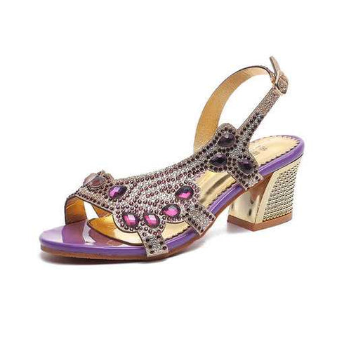 Rhinestone Metal Square Heel Sandals