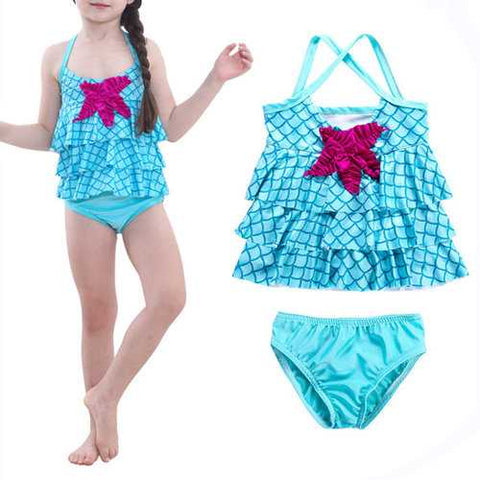 2Pcs Mermaid Girls Swimwear For 2Y-9Y