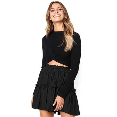 2018 fashion girl lacing Pleated skirt black