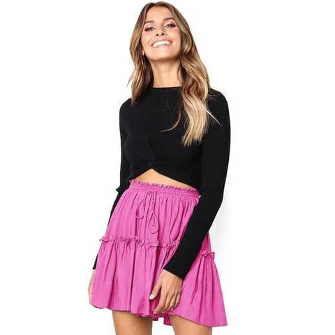 2018 fashion girl lacing Pleated skirt green