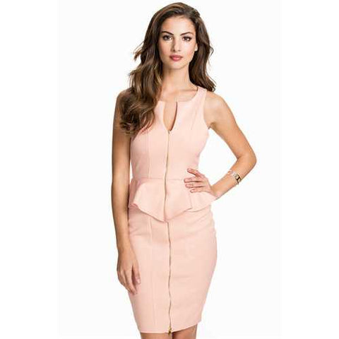 Women Party Pink V-Neck Sleeveless Peplum Dress