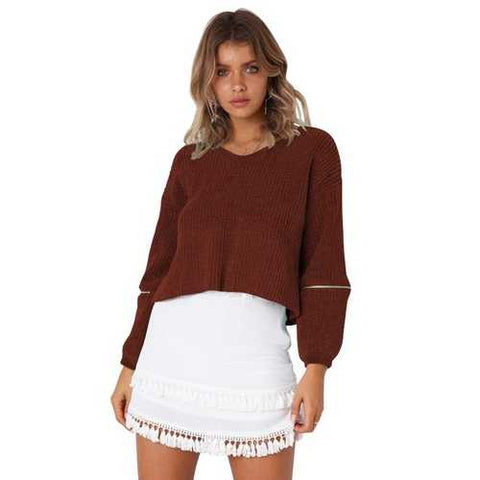 V-neck Long sleeve with zip women loose sweater(no include the skirt)