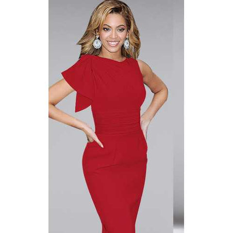 New Arrival Elegant Women Ruffled Sleeve Midi Dress Red