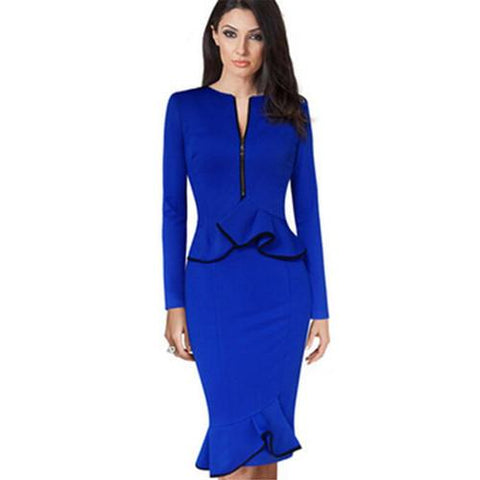 Elegant Long Sleeve Peplum Pencil Dress Blue