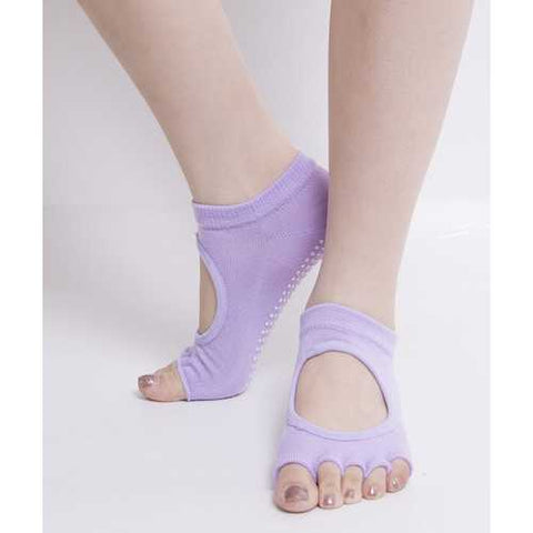 Toe Exercise Yoga Socks Pilates Barre Sock with Grip for Girl Women Purple