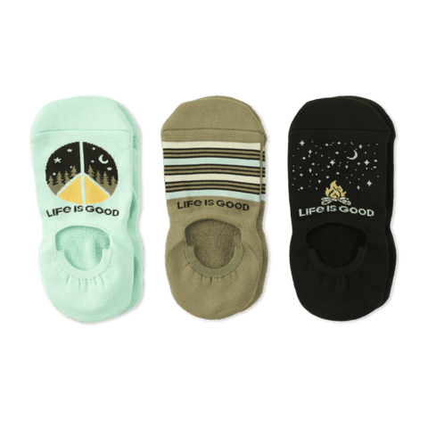 Women's 3 Pack Outdoor Peace Cushion No Show Socks