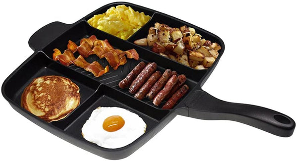 5 in 1 Rectangular Frying Pan-Black