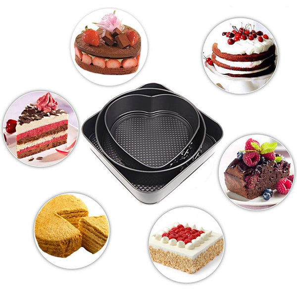 3 Pcs Non Stick Removable Bottom Shape Cake Mould