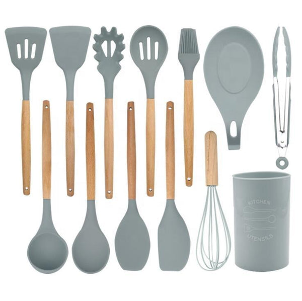 13 Pcs Bamboo Wooden Handles Silicone Kitchen Utensils