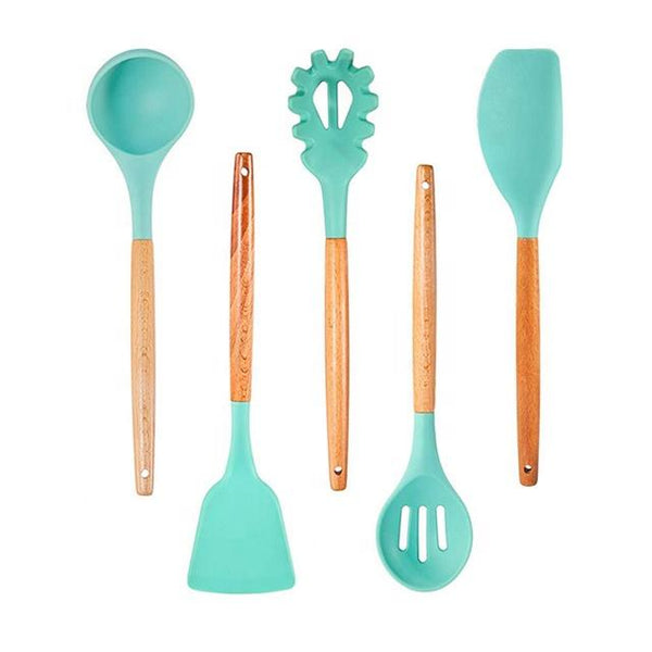 5 Pcs Non-Stick Heat Resistance Silicone and Wood Handles Kitchen Utensils