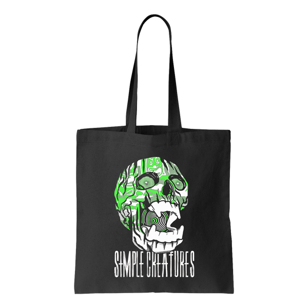 Neon Green Skull with Fangs on a black canvas tote bag