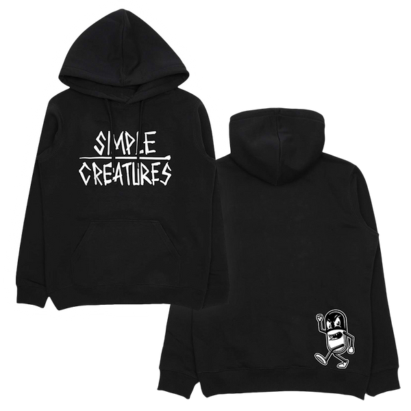 Black exclusive pullover hoodie with front and back print