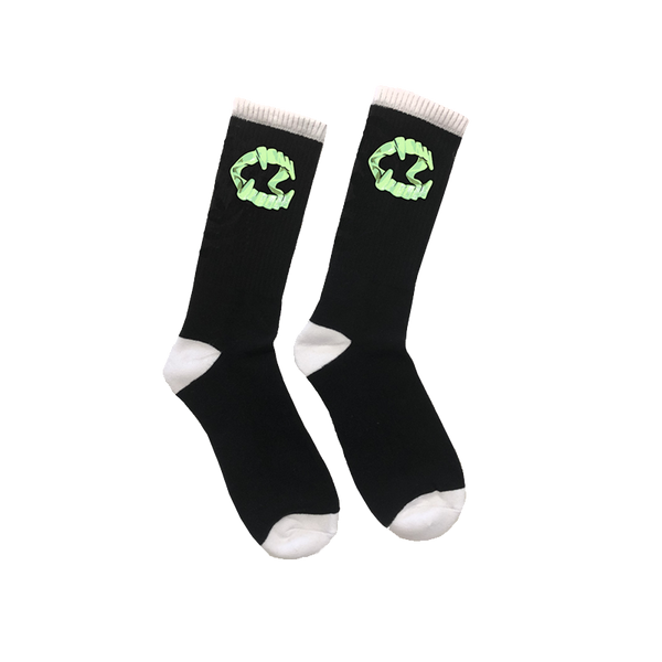 Black knit socks with Fang glow in the dark fang print on each sock