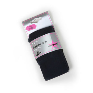 Cotton Soft Tights - Navy (twin pack)