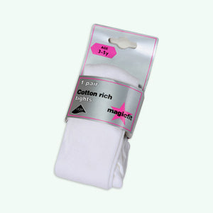 Cotton Soft Tights - White (twin pack)