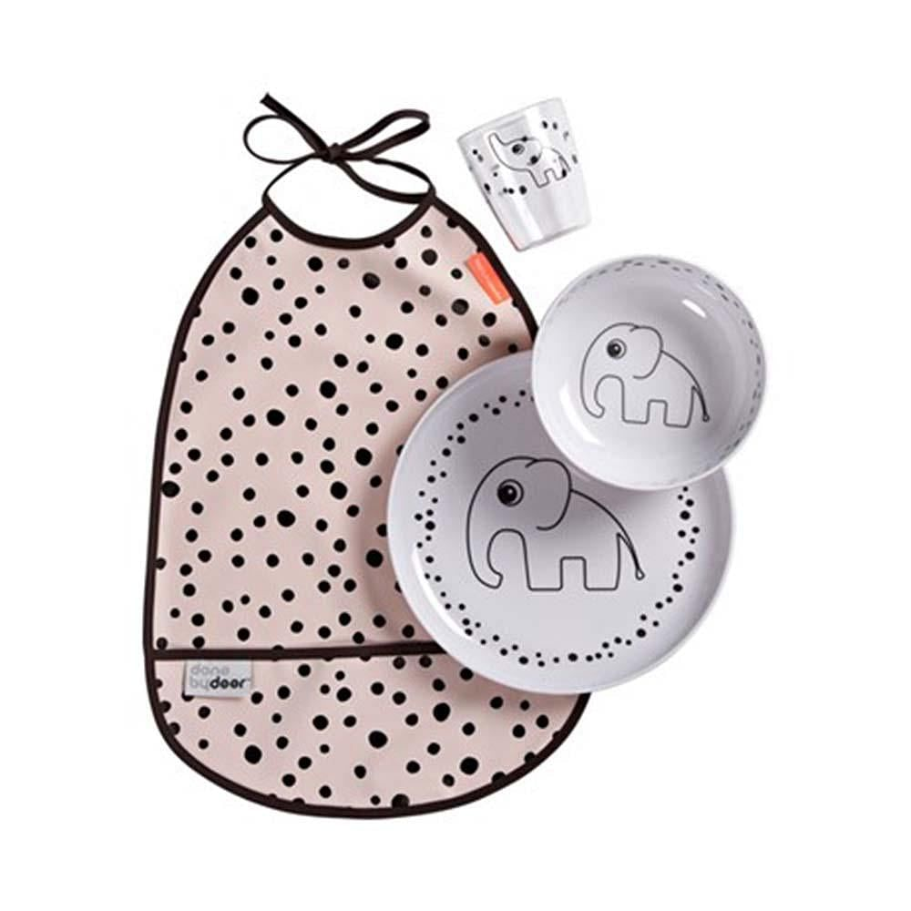 Set Vajilla 3 piezas + Babero Happy Dots Rosa