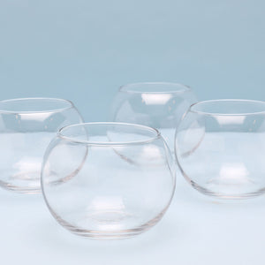 Set of four fishbowl glasses.