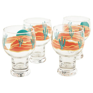 Sunrise Cactus Set of 4 Margarita Glasses