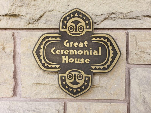 Disney polynesian resort Great Ceremonial House Tiki replica sign BRASS finish