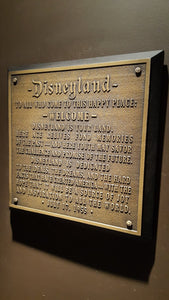 Disneyland welcome plaque replica new finish
