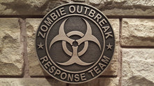 zombie outbreak response team plaque nickel /silver finish