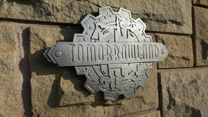 Disney Magic Kingdom Tomorrowland trash can plaque sign