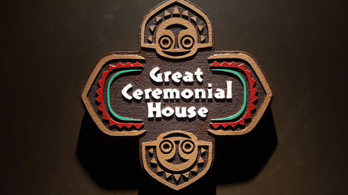 Disney polynesian resort Great Ceremonial House Tiki replica sign
