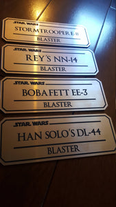 star wars blaster name plate