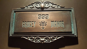 Personalized Haunted Mansion Themed address Plaque Sign ANTIQUE FINISH