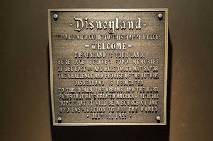 Disneyland welcome plaque replica