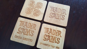 set of 4 polynesian themed bamboo coasters
