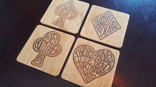 set of 4 ALICE IN WONDERLAND themed bamboo coasters