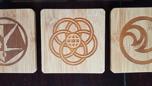 set of 11 epcot themed bamboo coasters