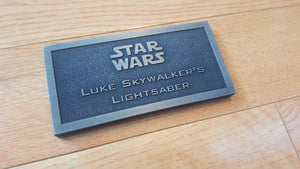 Luke Skywalker's Blaster name plate