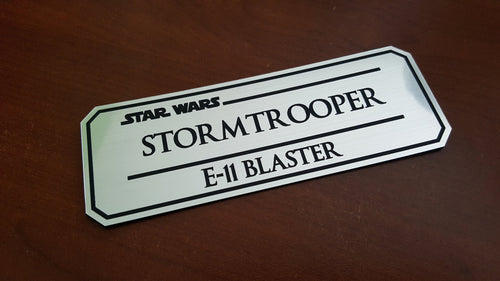 Stormtrooper E11 blaster data plate Version 2