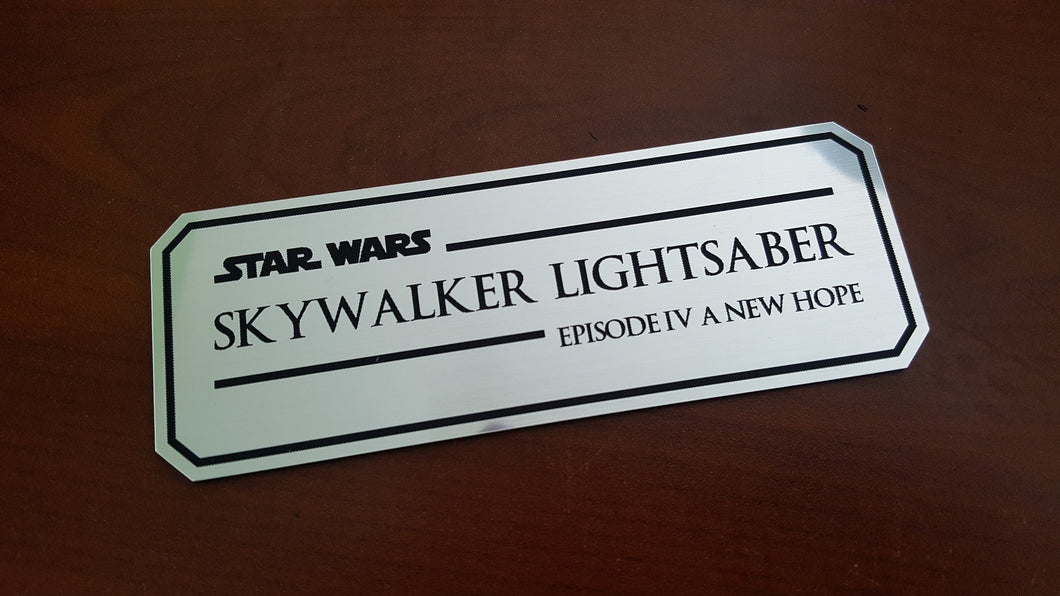 Skywalker lightsaber episode IV data plate