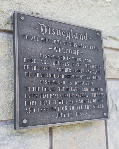 Disneyland welcome plaque replica bronze finish