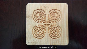 set of 6 polynesian themed bamboo coasters