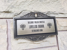 Personalized Haunted Mansion Themed address Plaque Sign silver and black finish