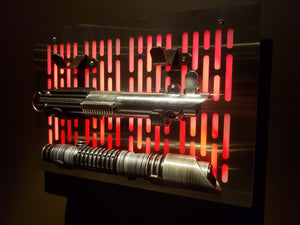 Star Wars triple Lightsaber wallmount Display stand with LED lights