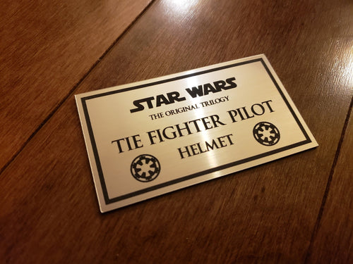 Star wars Tie fighter pilot helmet data plate