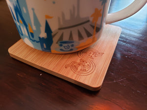 set of 4 society of explorers and adventurers themed bamboo coasters