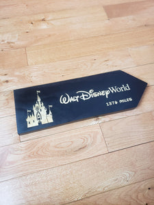 large Custom Directional sign with distance from your home to Disneyworld