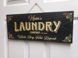 Customizable Laundry room wood door sign wash dry fold repeat