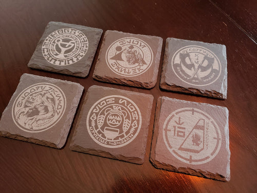 Ogas Cantina themed slate coaster set of 6 Galaxy's edge