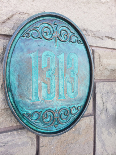 Personalized oval Haunted Mansion Themed address Plaque