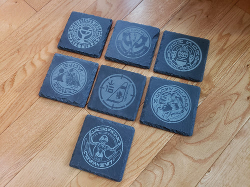 Ogas Cantina themed slate coaster set of 7 Galaxy's edge